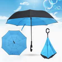New Styles Umbrellas Windproof Reverse Folding Double Layer Inverted Chuva Umbrella C-Hook Hands For Car Sunny Rainy  LH8s