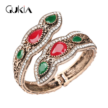 Gukin Bangles Big Bracelets Sculpture Retro plating Gold Full Crystal Bangle DIY Cuff Bracelets Turkish Jewelry Hand Accessories