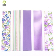 2016 New 5 Designs Purple Floral Patchwork Cotton Fabric Strips Needlework Sewing Patchwork Fabric For Bag Hat Doll cloth ZH1-1