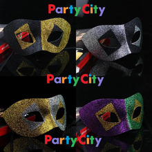 Free Shipping Masquerade masks fashion mask shiny full gold dust masks, 10pcs per lot, 4 color assorted(China)
