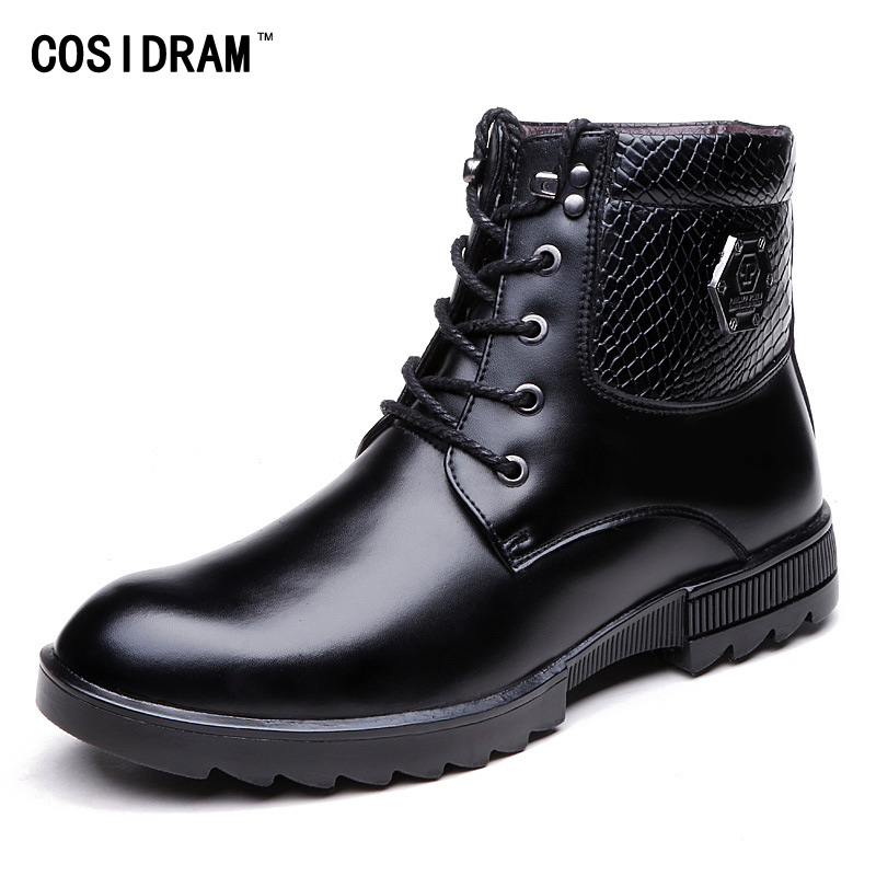 New Warm Winter Shoes Genuine Leather Men Boots Wi...