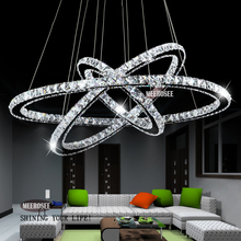 Hot Selling 3 Diamond Ring Crystal Light Fixture, LED Pendant Light suspension Lumiere Modern LED Lighting Circles Lamp MD8825