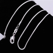 Factory price ! wholesale silver plated necklace, 1pcs silver fashion jewelry simple Snake Chain 1mm widith Necklace(China)