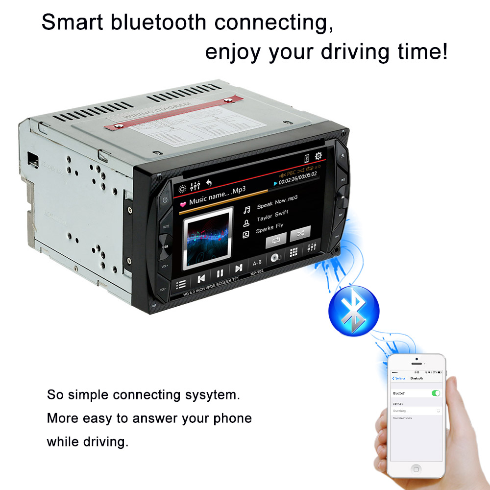 "6.2"" 2 Din HD Car DVD video/mutimedia player autoradio Touch Screen Stereo audio Bluetooth FM USB/SD Camera Input MP3/MP4/MP5(China (Mainland))"