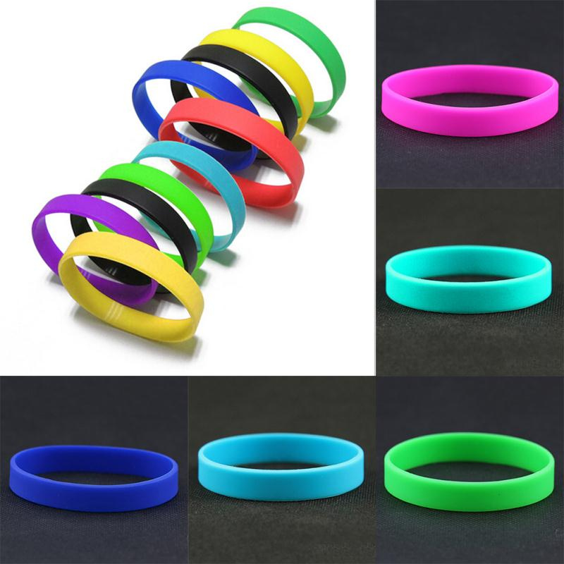 12pcs Mix Trendy Silicone Rubber Wristband Flexible Wrist Band Cuff Bracelet Sports Bangle Wholesale