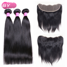 BY Brazilian Straight Human Hair 3 Bundles With 13x4 Lace Frontal Non-Remy Hair For Salon Supply Hair Extension