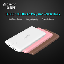 ORICO 10000mAh Ultra-Thin Power Bank External Battery Pack Dual USB Charger for iPhone 6s 7 iPad Tablet Samsung Xiaomi LG