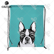 Black Cute Bulldog Pet Art Pattern Print Custom individual Nylon Fabric Drawstring Shoes Storage Dust Bag Pack of 4()
