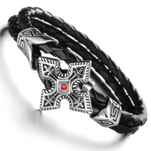 Retro jewelry Ninja dart stainless steel Gothic Cross Leather bracelet for Men