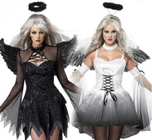 White Black Dark Devil Fallen Angel Costume Women Sexy Halloween Party Adult Gothic Witch Costume Fancy Dress+Headpiece+Wing 884(China)