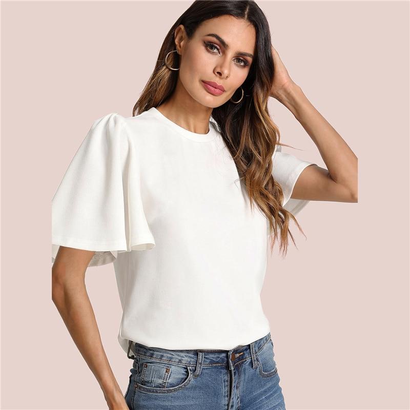 Sheinside Flutter Sleeve Zip Back Top 18 New Summer Short Sleeve Round Neck Blouses Women Plain White Elegant Blouse 10