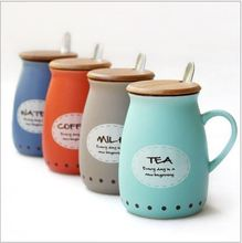 [400ML] The New South Korean Style Originality Simple Letters Ceramic Coffee Milk Cup ,Mugs With Cover And Spoon A193