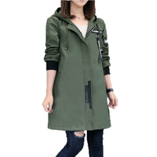 2017 New Spring Autumn Trench Coat Women Causal Long Sleeve With Hood Medium Long Army Green Female Coat Casaco Feminino Coats(China)
