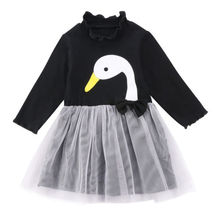 Toddler Kid Baby Girl Long Sleeve Lace Patchwork Swan Tulle Lace Dress Kids Girls Dresses(China)