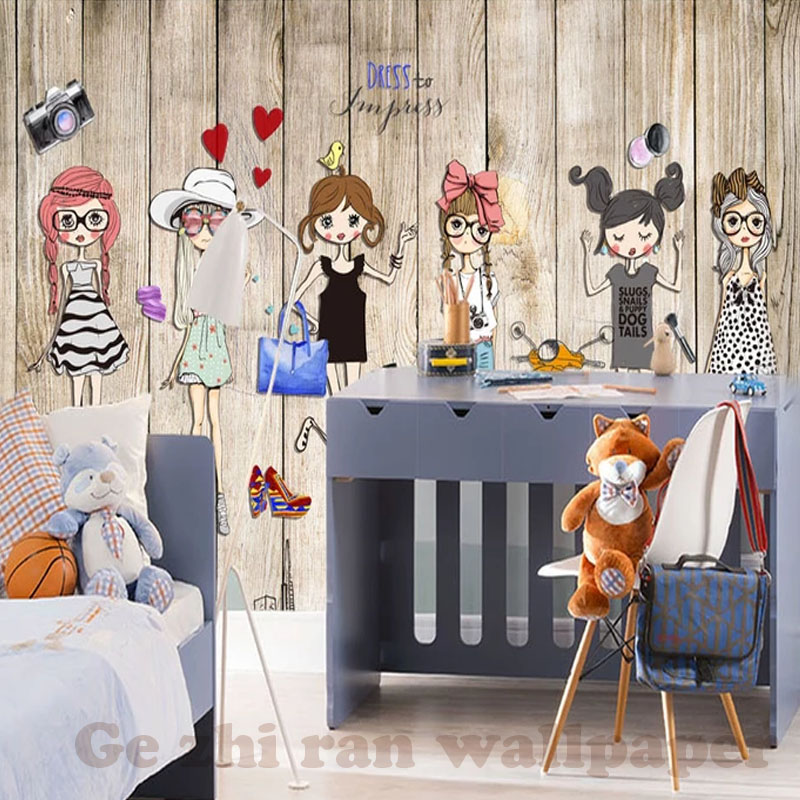 HTB1cB8EgVkoBKNjSZFkq6z4tFXaZ - Custom 3D Mural Hand-Ppainted Fashion Girl Wallpaper For Children Room