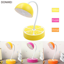 DONWEI USB Charging Table Decor Fresh Fruit Desk Lamp Night Flexible Dimmable Eye Protection Lemon Pitaya Orange Shape Light(China)