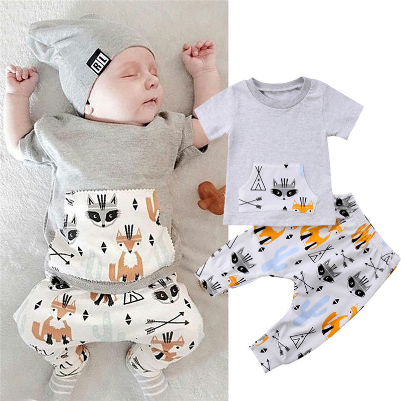 Newborn Baby Boy Short Sleeve Hooded Zipper Pocket Romper Jumpsuit Bodysuit 0-2Y