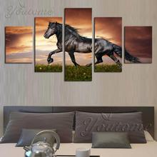 5 Piece Canvas Art Black Wild Horse Posters Canvas Print Painting for Living Room Modern Decoration Wall Art Picture No Frame