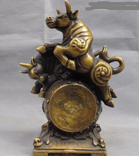 SUIRONG---426+++ Chinese Copper Bronze Feng shui Lucky Stock market Wealth Two Bull Drum Statue(China)