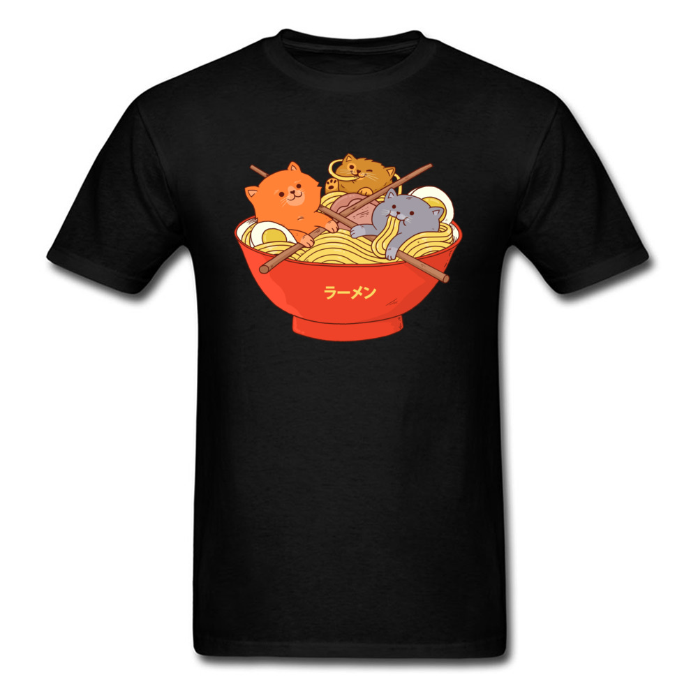Custom Ramen noodles and cats Tees for Men 2018 Newest Lovers Day Round Collar Cotton Short Sleeve T Shirt Casual Tee Shirt Ramen noodles and cats black