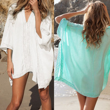 Lace Beach Cover up V-neck Bikini Cover Ups Beach Dress Women Swimsuit Covers up Beachwear 2016 Beach Tunic Bathing Suit Pareo