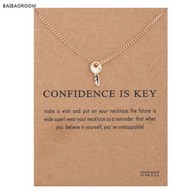 Sparkling Key gold-color Pendant necklace Key Fashion Clavicle Chains Statement Necklace For Women Jewelry(Has card)