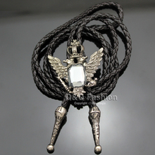 Silver Russian Imperial 2 Head Eagle Gem Leather Western Bolo Bola Tie Neck tie Jewelry Necklace Necklace(China)
