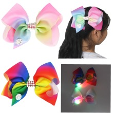 2 Colors Girls Mix Color Diamante Big Fashion Hair Bow Dance Party School Accessory With Led Light Glow in Dark(China)