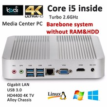 2017 Fanless Barebone Mini PC i5 4200u Windows 10 Intel HD Graphics 4400 Aluminum Gaming Computer Case 4K Resolution HDMI+VGA(China)