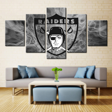 With RAIDERS 5 panel canvas painting printing home decoration coating waterproof wall picture Oakland Raiders Team Logo