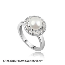 2015 Hot Sale Women fashion new created pearl ring With Crystals from SWAROVSKI good for Christmas gift