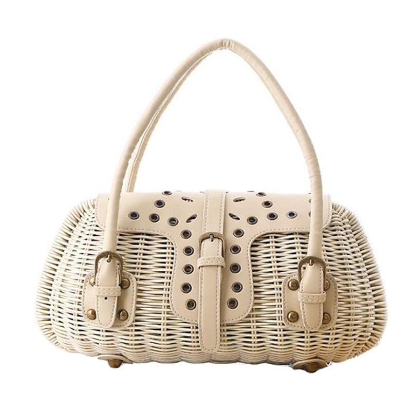 Fashion Bohemia Style Summer Straw Beach Bag Knitted PU Woven Rattan Handbag Bolsas Women Woven Travel Bags Shopping Tote 131574<br>