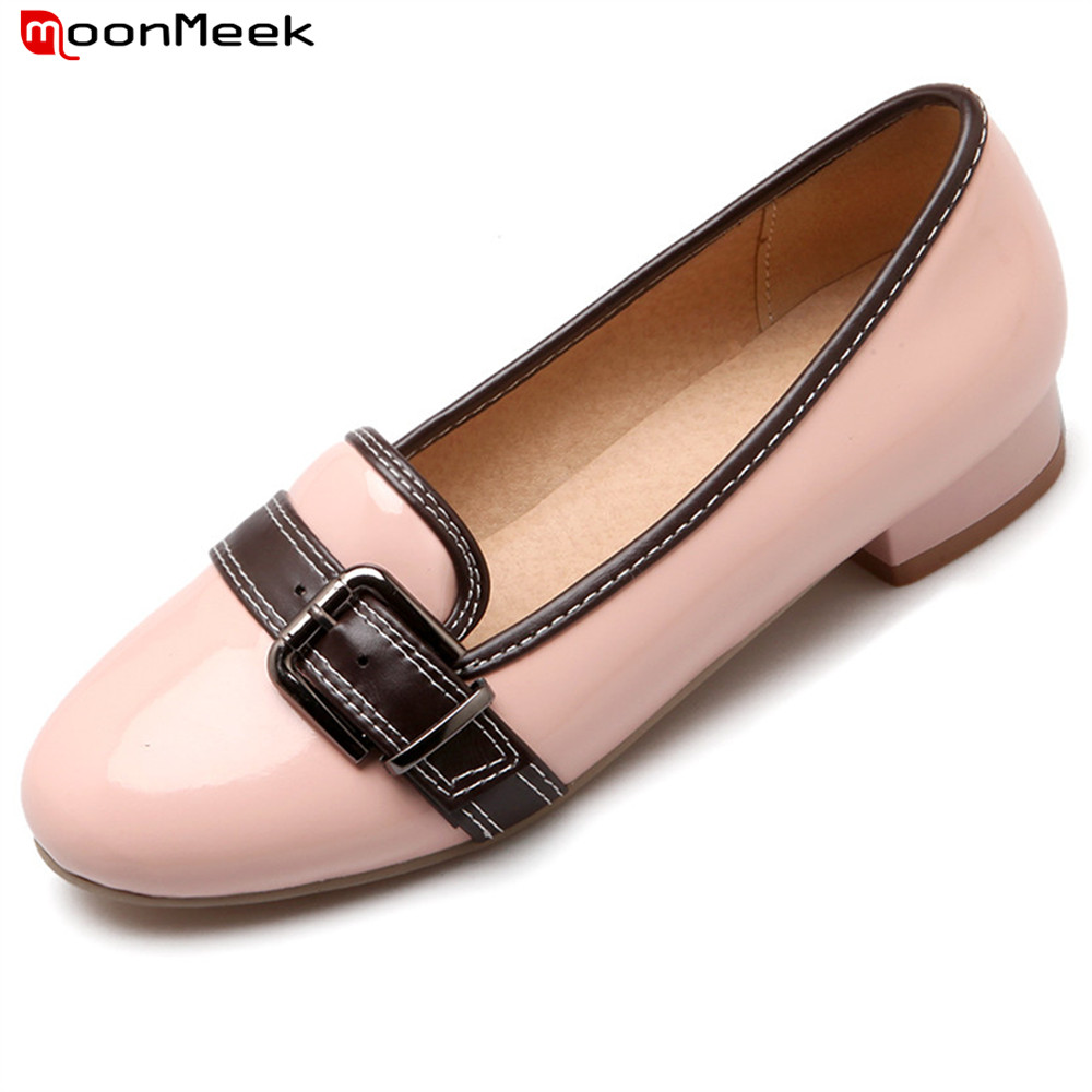 MoonMeek 2018 hot prevail sweet famale pumps round toe shallow simple med heel slip on casual dress square heel woman shoes<br>