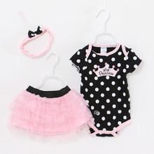 Baby Girl Clothes Newborn 3 Piece Suits Short Romper +Tutu Skirt + Headband Summer Girls Clothing sets for Infant Outfits(China)