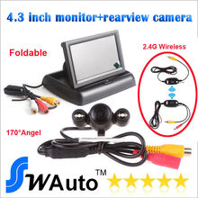 Auto Parking set 2.4G wireless rear view camera 170 degree lens HD camera+ 4.3 Inch TFT LCD Mini Car Dashboard Rearview Monitor