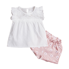 Summer Kids Baby Girls Outfits Clothes floral lace sleeveless white T-shirt + pink Shorts 2PCS Set(China)