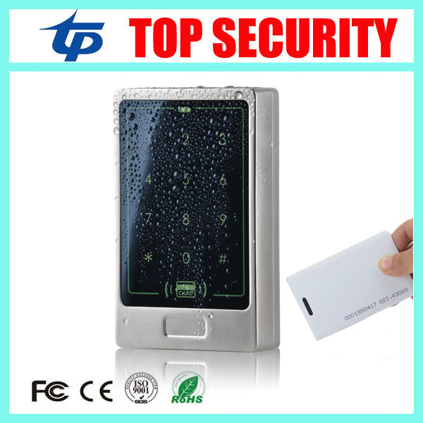 Surface waterproof RFID card door access control panel 125KHZ ID smart card touch screen metal access control reader controller<br>