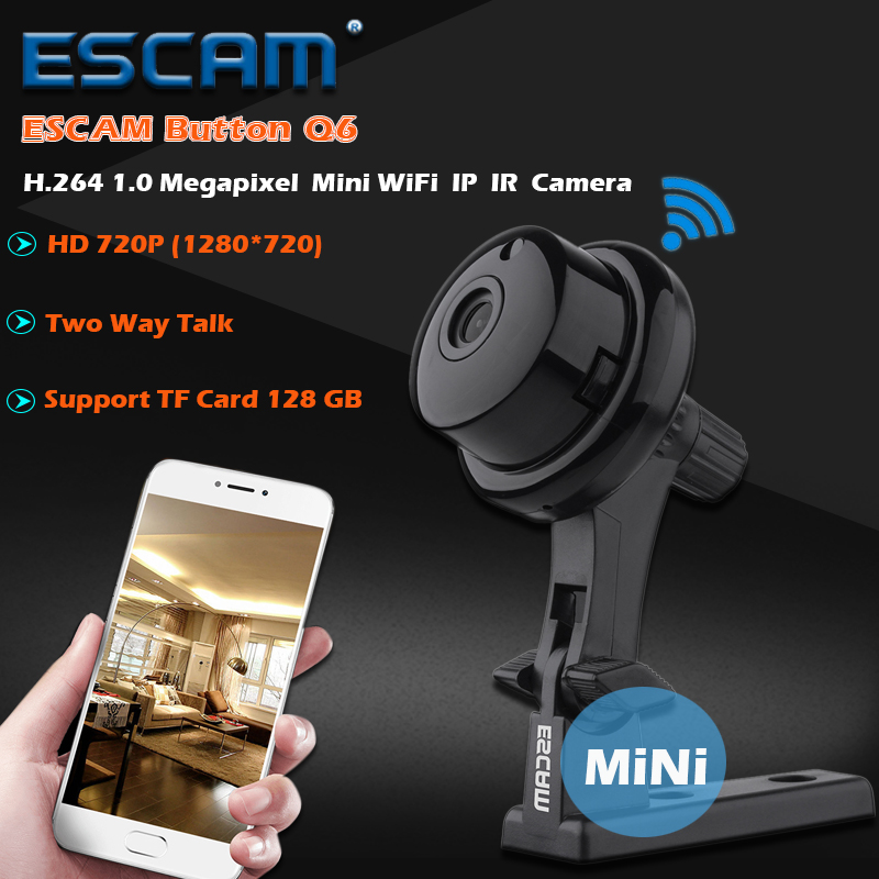 ESCAM Q6 1.0MP Button MINI Camera Support WIFI Two Way Voice Built in TF Card Slot Night Vision Home Security IP Indoor Camera <br><br>Aliexpress