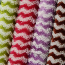 Colorful Stripes Printing Artificial Wool Fabric for Garment Toy Cushion DIY, Faux Fur Fabric