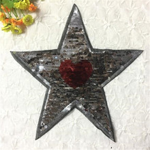 Girl clothes patch deal with it 25cm star heart up and down turn double sided sequins patches for clothing free shipping
