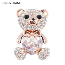 CINDY XIANG 3 Colors Choose Big Crystal Heart Bear Brooch Cute Animal Pins and Brooches for Women Dress Coat Badges Jewelry Hot