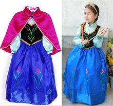 2017 New Kids Anna Elsa Dresses For Girls Princess Dresses Children Party Costume Snow Queen Elsa Dress Halloween Xmas Clothing