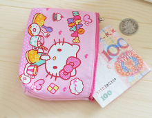 Kawaii 12*10CM Hello Kitty Canvas HAND Coin Purse & Wallet Pouch Case BAG ; Pocket Key Chain Women Makeup Holder BAG Handbag