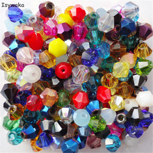 Isywaka Sale Mixed colors 200PCS 4mm Bicone Austria Crystal Beads charm Glass Beads Loose Spacer Bead for DIY Jewelry Making
