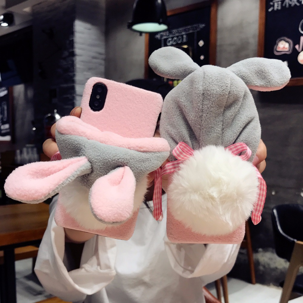 10DOEES Luxury Warm Cute Case For iPhone 7 7 Plus 6 6S Plus X Phone Cases Plastic Winter Furry Rabbit Hat Cover For iPhone X Coque (8)