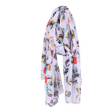 fashion leaves printing long georgette scarf women Cotton Blends scarves new 2017 Autumn Winter girls shawl Large Size 190*90CM(China)
