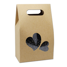 20Pcs 10.5*15+6cm Bottom Stand Up Bag Kraft Paper Handle Boxes With Heart Shape Clear Window Food Snack Party Gift Doypack Pouch(China)