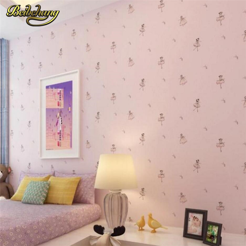 beibehang papel de parede. Cartoon ballet princess children non-woven cartoon wallpaper child wall paper kids wall covering<br>