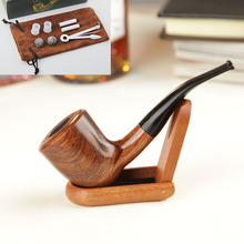 Mahogany hand-curled tobacco wooden pipe,men's smoking pipe,Pipe tool set
