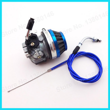 Blue Throttle Cable Racing Carb Carburetor Air Filter 50cc 80cc Gas Bicycle Push Bike Motorcycle